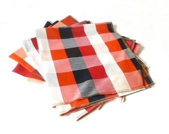 Vintage Checked Plaid Fabric Samples ... Red, Navy, Orange, White Stripes, Square Cotton Blend Textile Samples, Heavy Cotton, Dinner Napkins