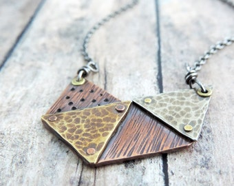 Geometric Triangles Necklace - Rustic Mixed Metal Jewelry - Artisan Metalwork - Hammered Textures
