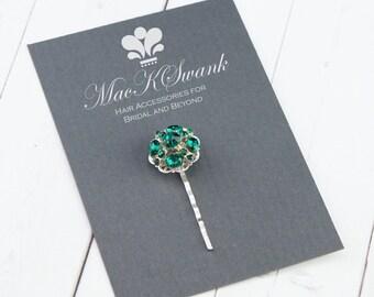 Emerald Green Bobby Pin - Vintage Rhineston Bobby Pin - Gift for Her - Christmas Gift - Bridal Bobby Pin - Christmas Hair Pin