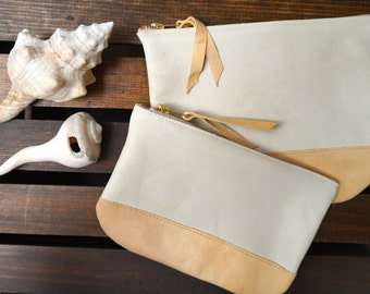 Leather Pouch // Cord Case // Make-up Bag // Natural Leather // Zip Pouch