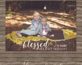 Blessed Rustic Holiday Card - DIY Printing or Professional Prints