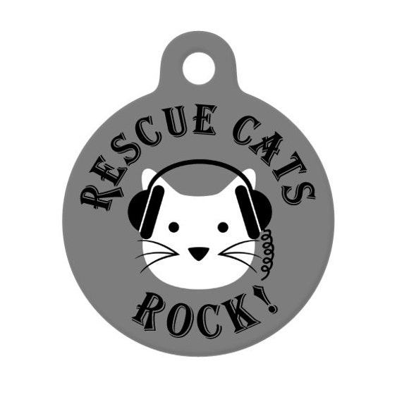 Pet ID Tag - Rescue Cats Rock, Cat With Headphones Pet Tag, Cat Tag, Luggage Tag