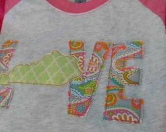 Kentucky Love Raglan applique t-shirt
