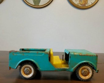Vintage Aqua Metal Toy Truck Nursery Room Decor