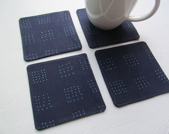 Set Of 4 Fabric Coasters/Turquoise Dots