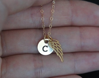 Personalized Necklace, Angel Wing Necklace, Hand Stamped, Initial Necklace, Birthday Gift, Bridesmaid Gift, Children's Necklace