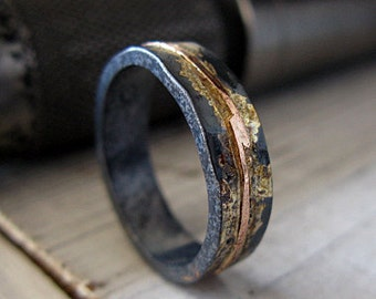 Mens Wedding Band Ring Oxidized Black Gold Rustic Unique