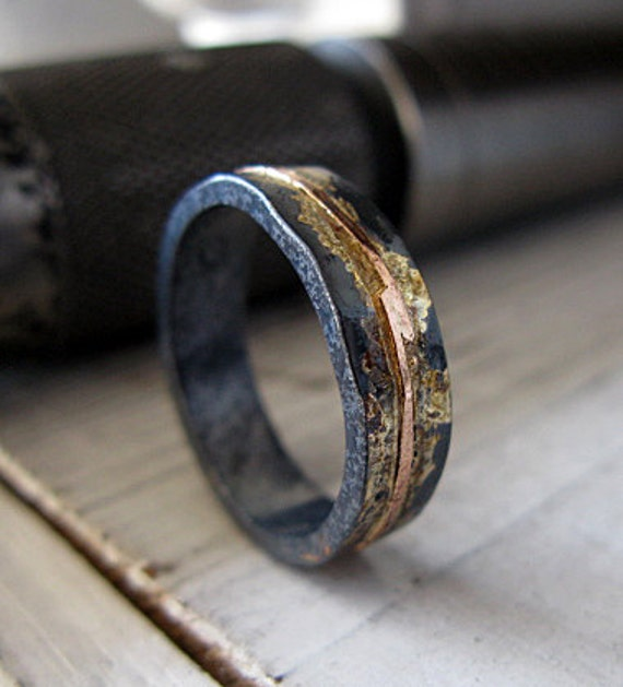 mens wedding rings etsy mens wedding band mens wedding ring oxidized ring black gold 5815