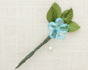 Blue Groom's Boutonniere Blue Gold Green Handcrafted Buttonhole Groomsmen Father of Bride | Handcrafted Wedding USA 1000611