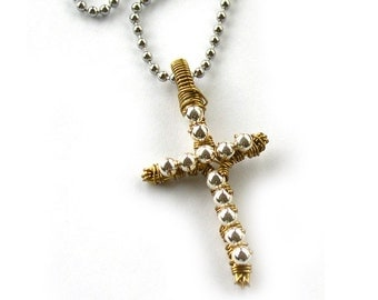 Cross Necklace Silver and Gold Wire Wrapped Pendant Christian Jewelry