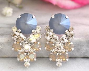 Gray Earrings, Bridal Gray Opal Earrings, Swarovski Silver Bridal Earrings, Silver Gray Earrings, Silver Cluster Earrings, Bridal Earrings