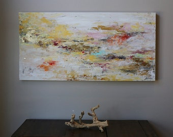 Gold Abstract art,gold leaf,original abstract painting ,modern painting,room deco, Wall art,soft colors ,yellow