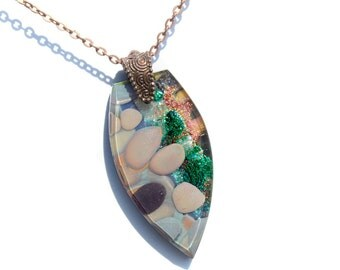 Fused Glass Jewelry, LARGE Pendant, Organic Natural Earth Tones, Rock Pebbles Stone, Dichroic Glass, Beveled, Antique Copper (Item #10721-P)