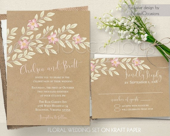 Boho Chic Wedding Invitations: Boho Chic Wedding Invitation Suite Blush RSVP By