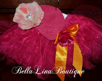 Three Piece Girls Ballet Tutu Set with Swarovski Crystals - You Get The Tutu Flower Clip and Hat - Size 2-5 yrs. (approx) - Ready to Ship!