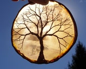 Copper Wire Tree Of Life Metal Art Sculpture On A Brown Agate Stone Crystal Suncatcher