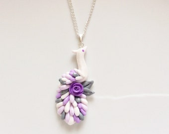 Flower girl necklace with lilac and white peacock pendant handmade from polymer clay