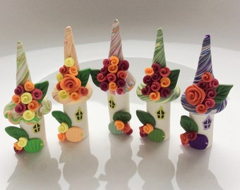 Birthday cake topper set of 5 miniature fairy houses handmade from polymer clay
