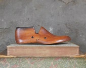 Antique Cobblers Shoe Form Wood Small Child Size 6D Primitive Collectible Cottage Home Decor Candleholder Paperweight Desk Accessory