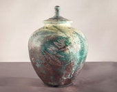 Wild Ferns Urn, Raku in. Jar,Handmade USA,Turquoise,Lemon&Copper decorative Jar