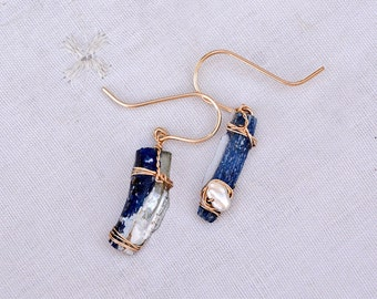 Thin Blue Roman Glass Earrings Wrapped in Gold Filled wire. Marine Blue. Roman Glass Jewelry. Gold Filled jewelry. Light Earrings. Israeli