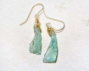 Roman Glass Earrings with Pearls. Long Gold Filled Aqua Roman Glass Earring. Roman Glass Jewelry. Israeli Earrings. Gold Filled Jewelry
