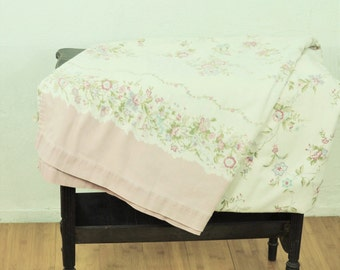Queen Bedspread Cover Light Cotton Summer Blanket Off White W/ Pink Olive Purple & Turquoise Blue Floral