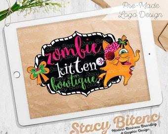 Zombie logo - Cat logo -  Edgy logo - Etsy Shop Banner - Premade logo - business branding - Etsy Banner - Graphic Design - Branding Set