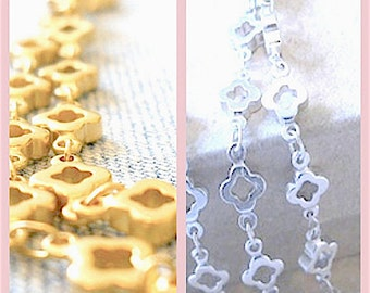 CLOVER Chain,Long + Layered 2X Length Necklace, Matte Silver, Gold, New: Antique Bronze, Long+ Layered, Opera Length