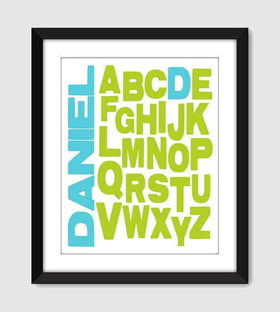 Alphabet Wall Art. Typography Print. Personalized Name Wall Art. ABC Wall Poster. 8x10 Baby, Children, Nursery Wall Print Poster