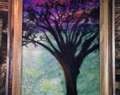 "Ancient Apple at Sunset Needle Felted Framed Wool Painting, Picture 14 1/2"" x 17 1/2"""