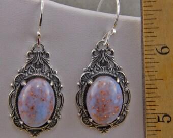 Handmade Silver Plate Faux Opal   Dangle Earrings