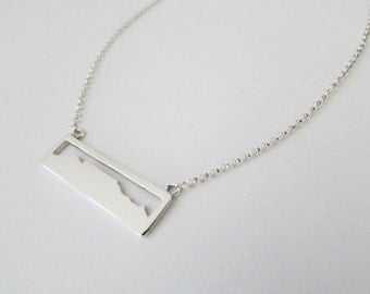 table mountain necklace cape town necklace table mountain pendant south africa necklace sterling silver jewelry