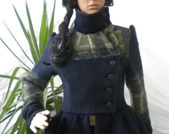 Unique - unusual and beautiful ladies coat with buckle on one side made of cashmere.