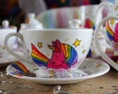 Unicorn Teacup and saucer hand painted magic magical cup cerise Pink shocking pink