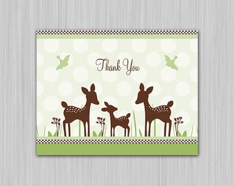 Willow Deer Family/Green/Fawn/Woodland/Nature Printable Baby Shower Thank You Card U Print Yourself