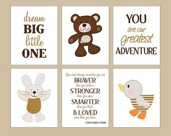 Set of 6  Unframed (B is for Bear/Duck/Bunny/Teddy Bear/Word Art) 8x10 inch Linen Look Nursery Wall Art Prints Baby Children Kids Decor