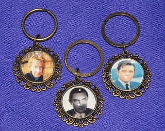 Keychain or Zipper Pull - Hollywood Icons - Alan Rickman, Jack Lord, Bela Lugosi