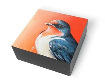 Swallow art block painting, original swallow art, bird painting