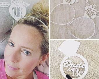 Pack of 5 BRIDE TO BE and Bride Tribe White Glittered Headbands, Perfect for Bachlorette Parties or Bridal Showers