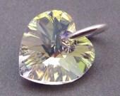 Swarovski AB Crystal Heart, Heart Bead Dangle, Birthstone Charm, Interchangeable Earring Components, Swarovski Crystal Pendant