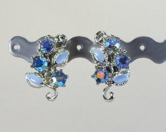 Blue Enamel Clip Earrings, Pretty Blue Enamel and Rhinestone Crystal Clip On Earrings, Vintage 1960s Non Pierced Earrings in Soft Blue