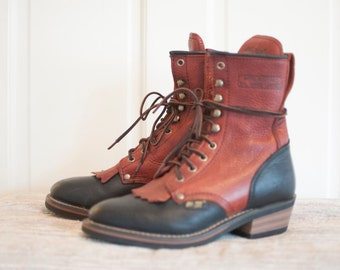 Two toned black and cherry fringe leather boots, size 6.5