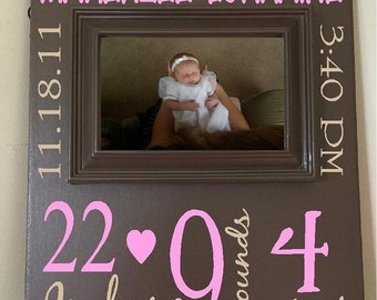 ON SALE Beautiful PICTURE Frame Baby Girl Birth Announcement Subway art 10X12 wooden board sign
