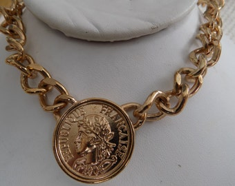 Vintage chunky Republique Francaise 1908 coin retro necklace, jewelry