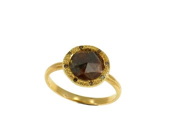 SALE Natural diamond Halo ring, Diamond ring setting ,Solid yellow gold multistone ring , OOAK, 14k gold  solid diamond wedding ring
