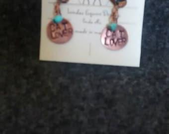 Cat lover handstamped copper earrings