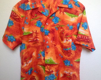 Vintage 1960s Royal Hawaiian shirt, orange polyester 60s retro aloha shirt, dolphins, surfing, sailboat, Made in Hawaii RN 25692 style 220