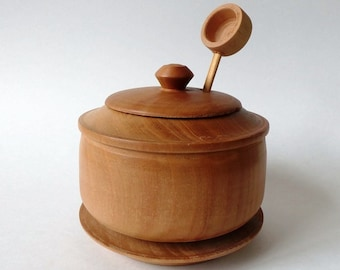 Wooden Sugar Bowl with Lid and Spoon Vintage