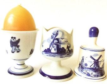 3 Vintage Blue and White Porcelain Egg Cups & Bell ON SALE